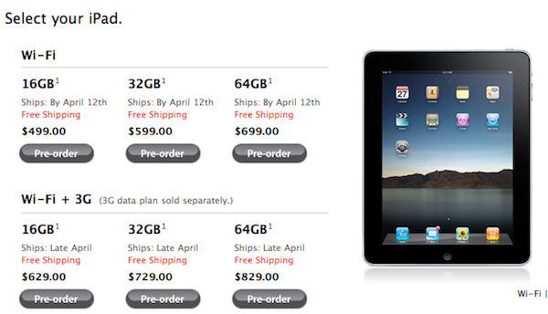 Apple's iPad Preoder Dates