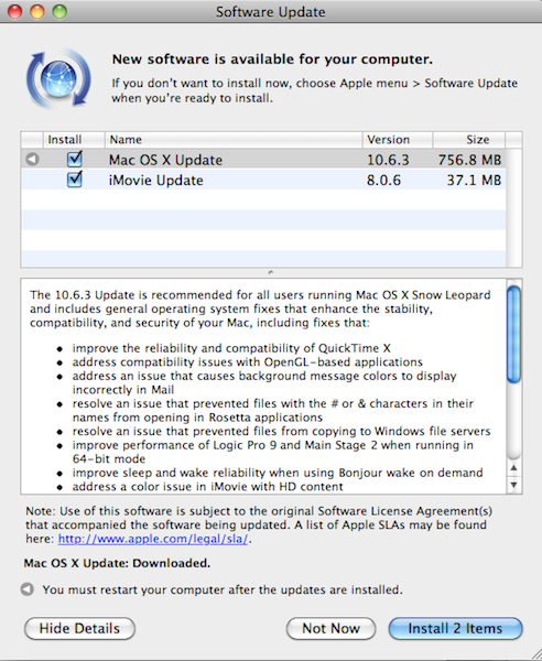 Mac OS X 10.6.3 Update Released