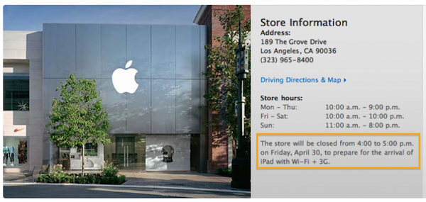 Apple Retail Stores will Close for iPad 3G Launch from 4-5 PM