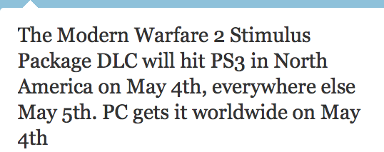 Robert Bowling Infinity Ward Twitter Stimulus Package DLC PS3 PC