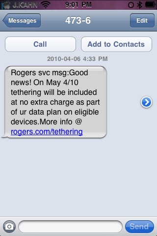 Rogers offers iPhone users free tethering