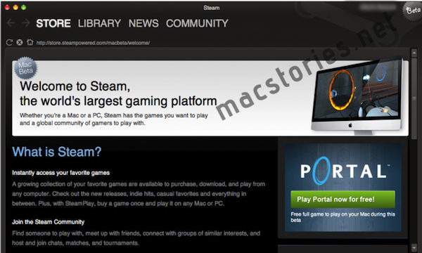 STEAM for Mac OS X Beta Screenshot