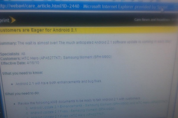 internal sprint memo android 2.1 update