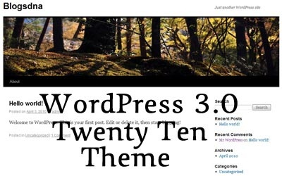 WordPress 3.0 Twenty Ten Theme