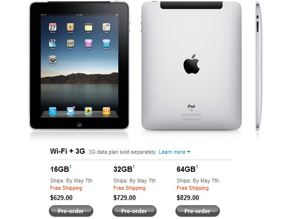 iPad 3G Ships May 7th