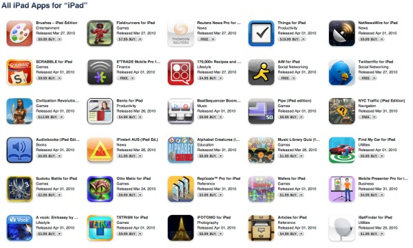 iPad Apps Live on App Store