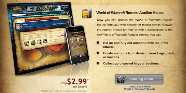 Blizzard Announces Beta for Remote World of WarCraft Auction House Service 1