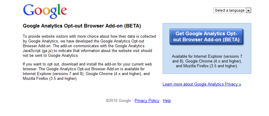 Google Analytics Blocking Browser Add-On
