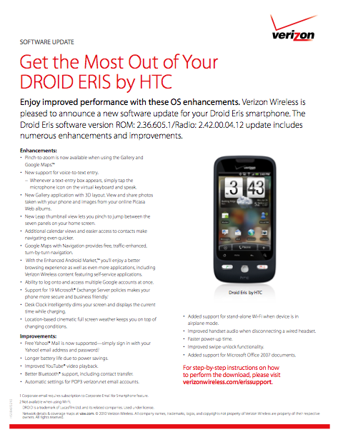 verizon droid eris update flyer