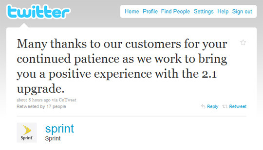 sprint tweet Android 2.1 update