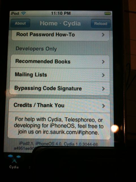 Cydia on iPod Touch 2G 4.0 iOS