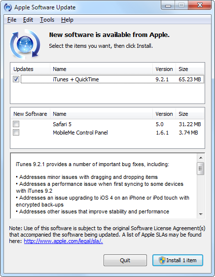 Apple Software Update for iTunes 9.2.1