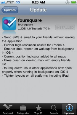 Foursquare App For iPhone iOS4