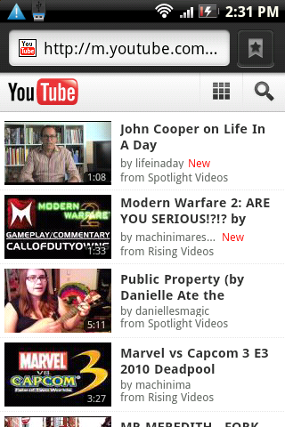 new YouTube mobile site