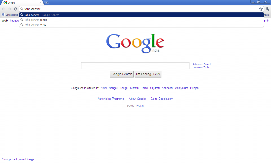 Instant Search in Google Chrome