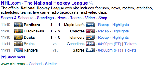Google NHL Live Results