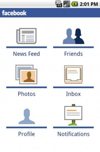 facebook android screen