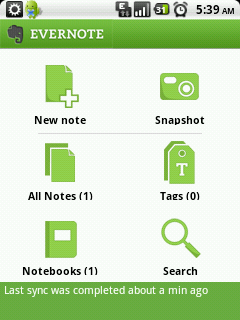 Evernote 2.0 on Android