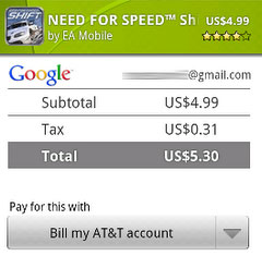 Android Market AT&T Billing