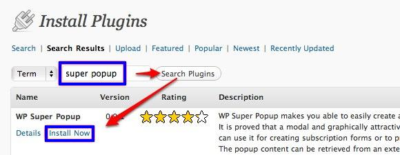 Search And Install WPSuperPopup