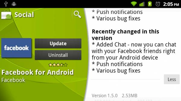 facebook android 1.5 update