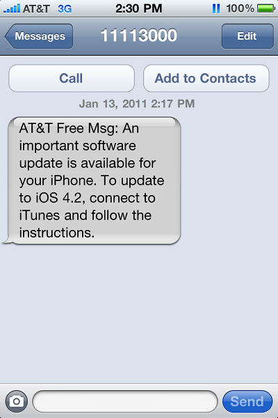 At&T update iPhone Message
