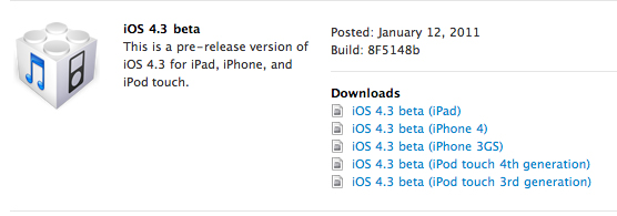 iOS 4.3 Beta 1 Build 8F5148b