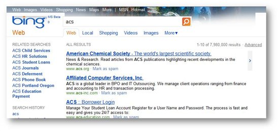 Bing History Search
