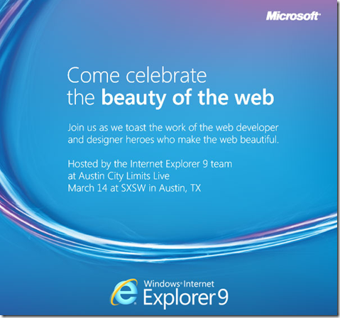 Internet Explorer 9 Beauty of the Web Party