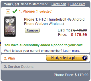 Amazon HTC Thunderbolt
