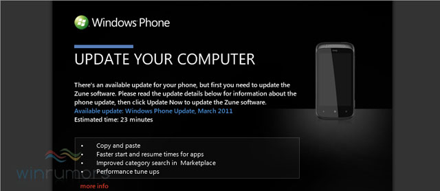Windows Phone 7 Nodo Update